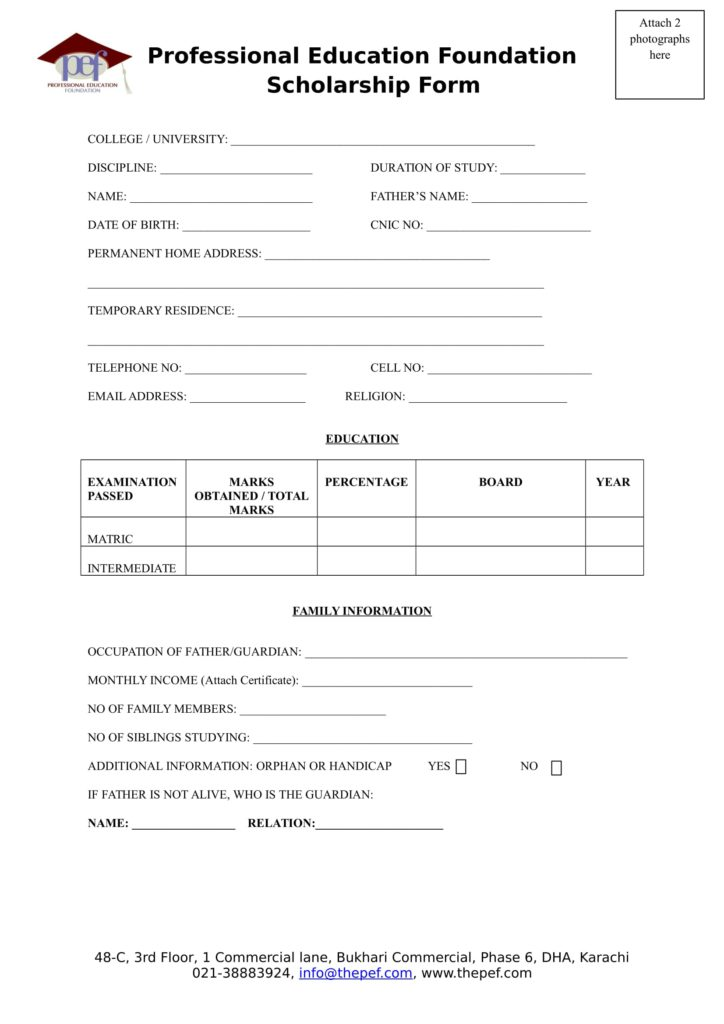 Download PEF Scholarship Forms