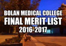 Bolan Medical College Merit List 2017-2018 [District Wise]