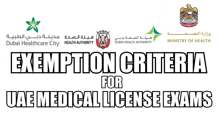 Exemption Criteria for HAAD, DHA, MOH & DHCC License Exams