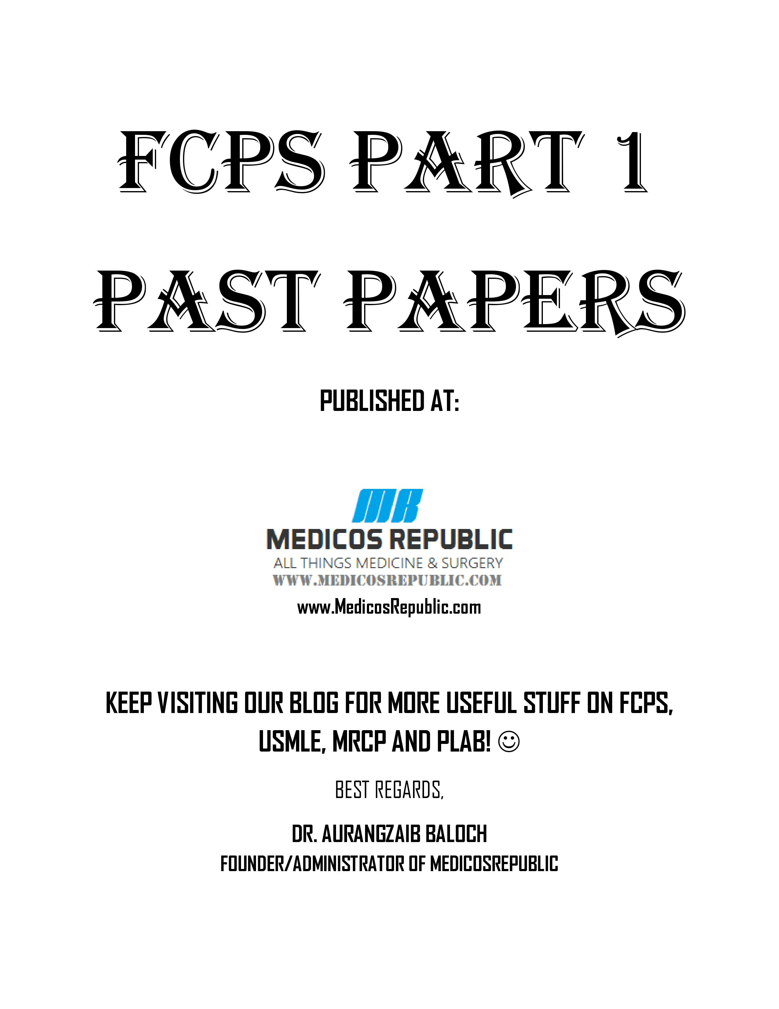 FCPS Part 1 Past Papers