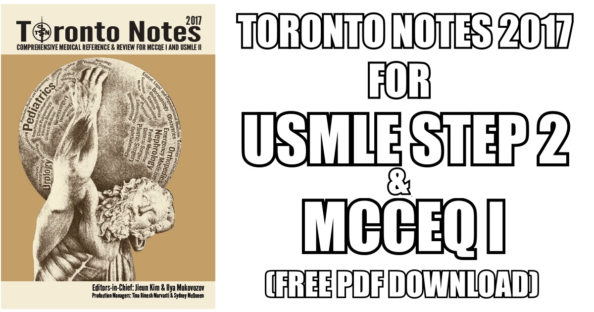 Toronto Notes 2017 PDF Free Download [Direct Link] | Medicos